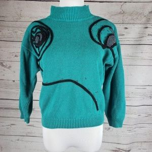 Sweaters - Vintage Green Embroidered Mock Neck Knit Sweater